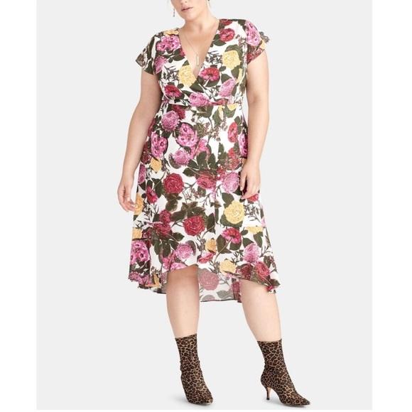 RACHEL Rachel Roy Dresses & Skirts - RACHEL ROY Ivory Floral Print Short Sleeve Dress